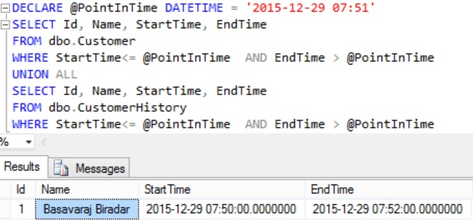 Equivalent of FOR SYSTEM_TIME AS OF