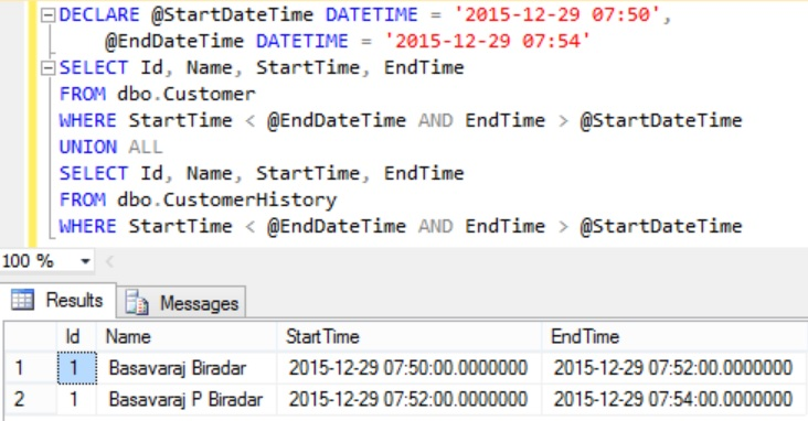Equivalent of FOR SYSTEM_TIME FROM TO