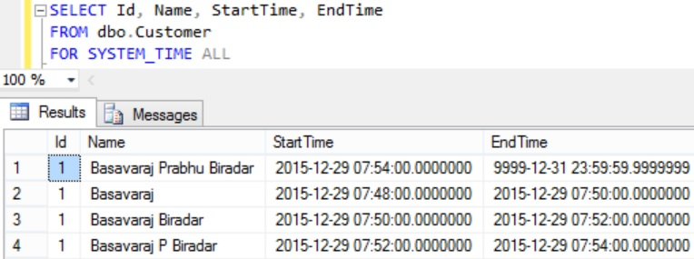 FOR SYSTEM_TIME ALL Example
