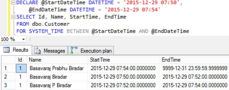 FOR SYSTEM_TIME BETWEEN AND Example