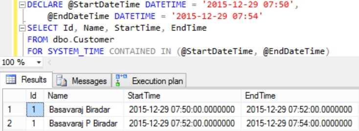 FOR SYSTEM_TIME CONTAINED Example