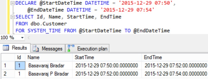FOR SYSTEM_TIME FROM TO Example
