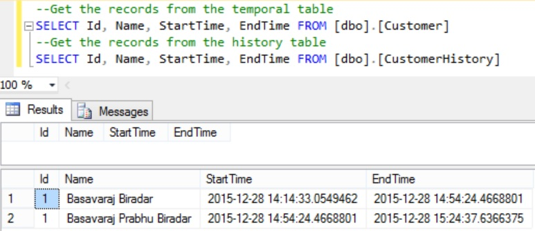 Records in Temporal and History Table after Delete