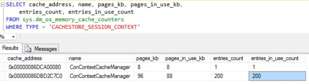 SessionContext Memory Usage Details in Sql Example 6