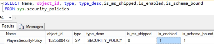 Sys security_Policies Catalog views