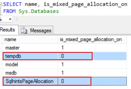 Default Page Allocation Setting for TempDB and User Database