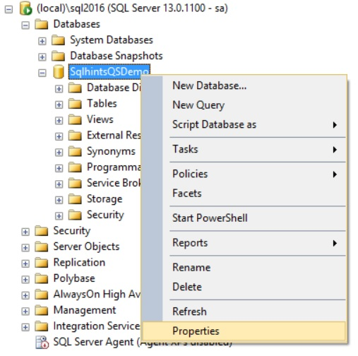 Enable Query Store DB Properties window