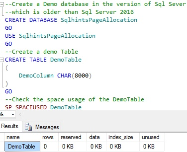 Initial Space Usage in Older Sql Versions