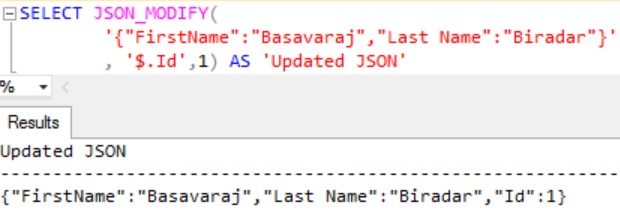 JSON_MODIFY Insert Property Example 3
