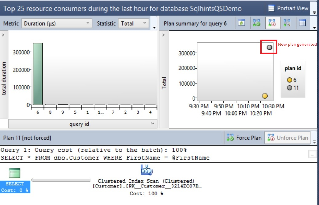 Query Store View with two plans for the Same query 1