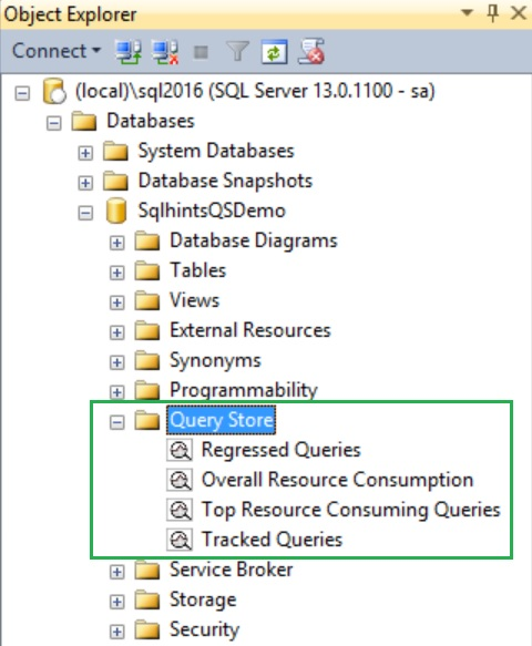 Query Store folder in the object explorer