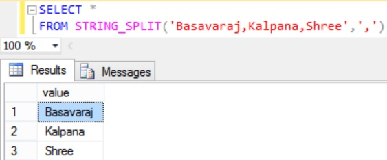 Sql STRING_SPLIT Function Example 1