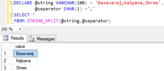 Sql STRING_SPLIT Function Example 2