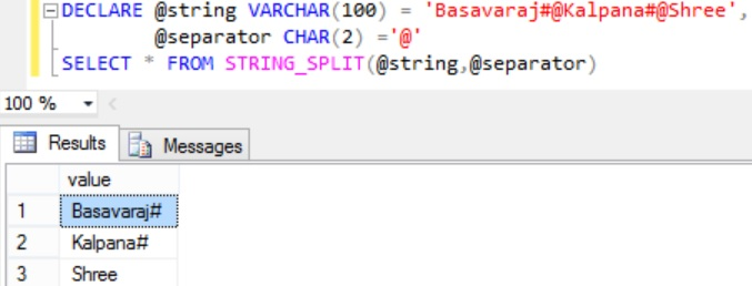 Sql STRING_SPLIT Function Example 3