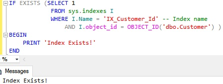 Check existence of a Clustered Index by using sys indexes catalog view and object id function