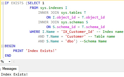 Check existence of a Clustered Index by using sys indexes catalog view