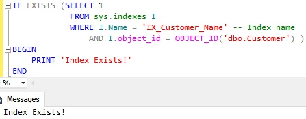 Check existence of a Non-Clustered Index by using sys indexes catalog view and object id function