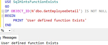Function Exists Usig OBJECT ID Example 1