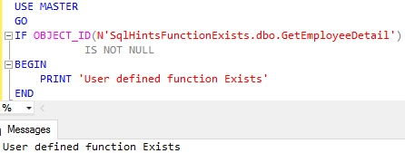 Function Exists Usig OBJECT ID Example 2