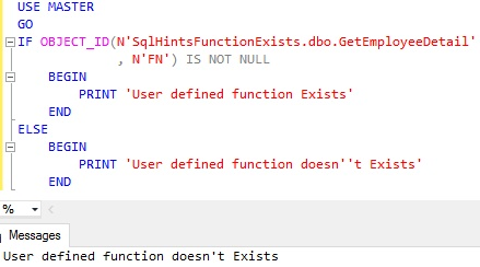Function Exists Usig OBJECT ID Example 4