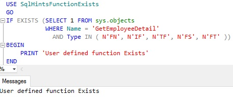 Function Exists Usig Sys Objects Example 1