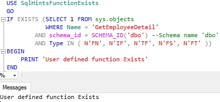 Function Exists Usig Sys Objects Example 2