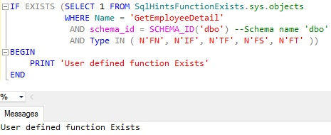 Function Exists Usig Sys Objects Example 3