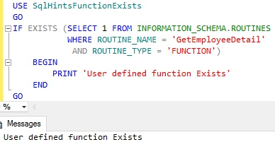 Function Exists Using Information Schema Routine Example