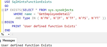 Function Exists Using sys sysobjets Example
