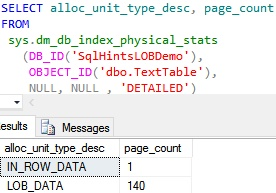 TextData Typ Page Allocation Column Value more Than 8000 Bytes