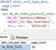 Changing Text Data Type Default Storgae Behaviour
