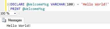 Sql Server PRINT Example 2