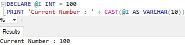 Sql Server PRINT Example 5.2