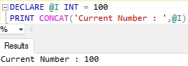 Sql Server PRINT Example 5.3