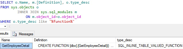 Get All Functions In a Database