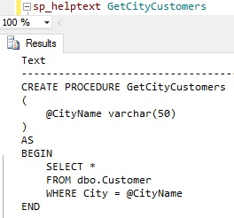 How to check Stored Procedure Definition or Content