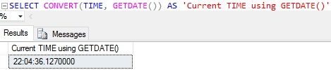 current-time-using-getdate-in-sql