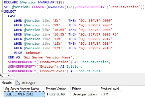 sql-server-version-details-using-serverproperty-function