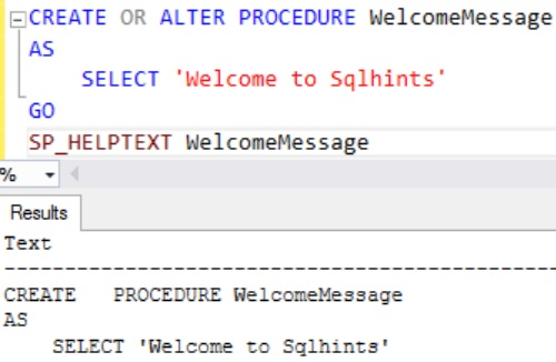 Sql Server 2016 SP 1CREATE OR ALTER Statement Example 1