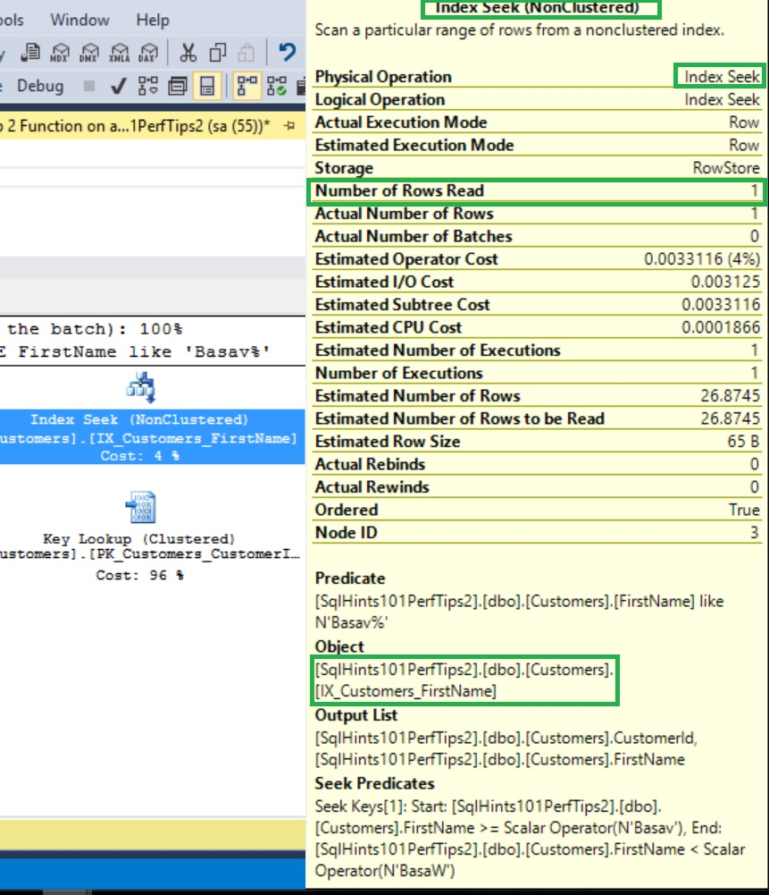 Performance Issue Function on Index Column Execution Plan Properties After Fix