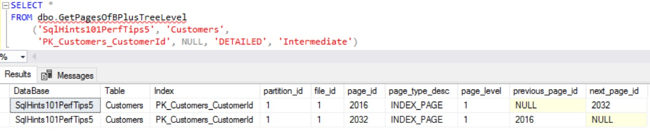 How to Get Intermediate Pages of a B Tree Index