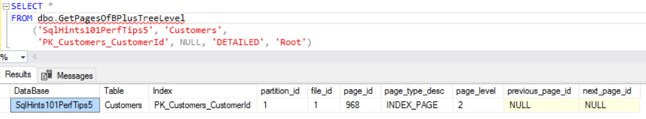 How to Get Root Page of B Tree Index