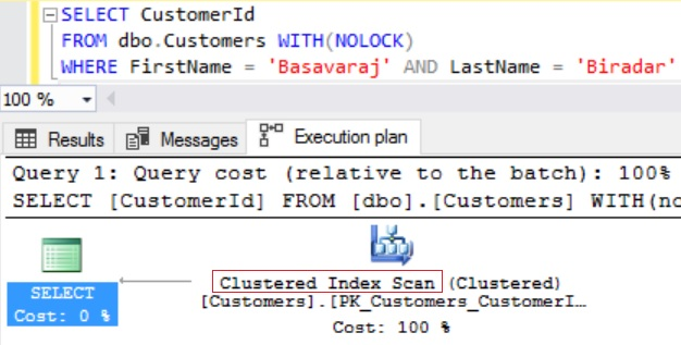 TIP 7 Execution Plan Clustered Index Scan