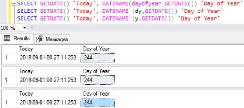 Day of Year using DATENAME function in Sql