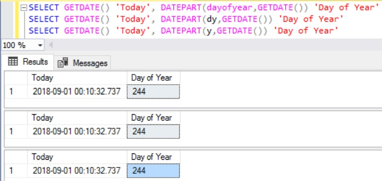 Day of Year using DatePart function in Sql