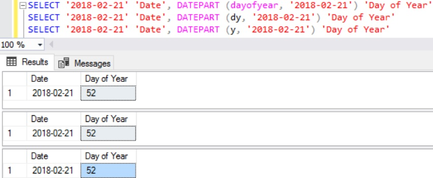 Example Day of Year using DatePart function in Sql